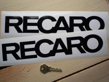 "Recaro Seats Black & White Oblong Stickers. 12"" Pair."