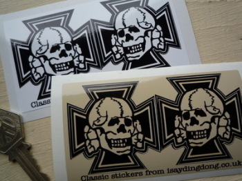 "Skull & Iron Cross Shaped Stickers. 2"" or 3"" Pair."