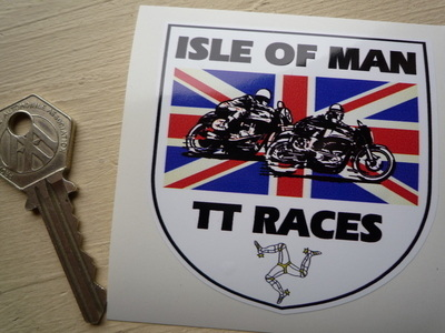 "Isle Of Man TT Races Union Jack Shield Sticker. 3""."