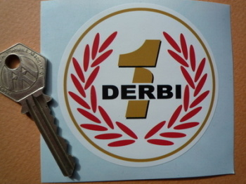 "Derbi Moto GP '1' Black Text Style Garland Sticker. 3"" or 5""."