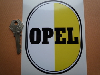"Opel Ovoid Black, White & Yellow Sticker. 4"" x 5.5""."