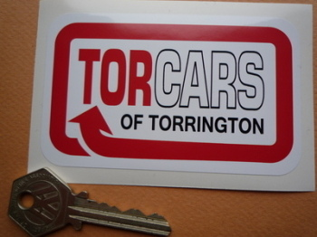 "Torcars of Torrington Red Style Sticker. 4""."