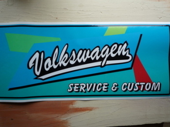 "Volkswagen Service & Custom Workshop Sticker. 23.5""."