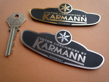 "Custom Coachwork by Karmann Self Adhesive Car Badge. 3.75""."
