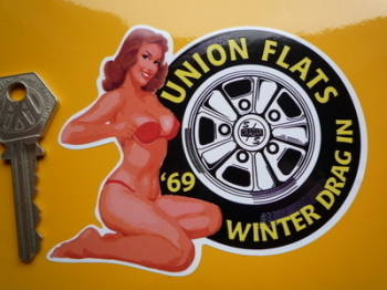 "Union Flats '69 Winter Drag In Sticker. 4.5""."