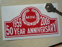 "Mini 50th Year Anniversary 1959 - 2009 Sticker. 6""."