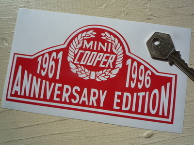 Mini Cooper 'Anniversary Edition 1961 - 1996' Sticker. 4