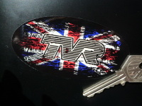 TVR Union Jack Fade To Black Oval Sticker. 4