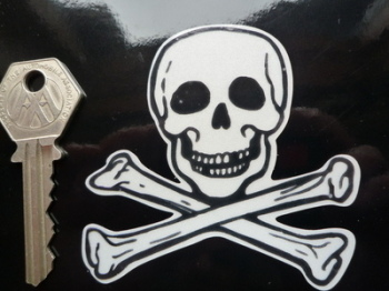"Skull & Crossbone Cut To Shape Reflective Sticker. 3""."