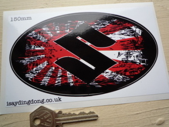 "Suzuki Fade To Black Hinomaru Style Oval Sticker. 4"" or 6""."