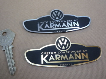 "Volkswagen VW Custom Coachwork by Karmann Self Adhesive Car Badge. 3.75""."