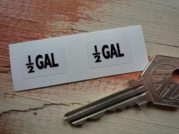 1/2 GAL Black & Clear Petrol Pump Stickers. 20mm Pair.
