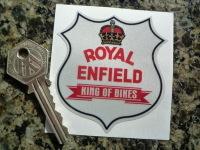 "Royal Enfield King Of Bikes Reflective Shield Sticker. 2.5""."