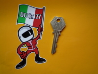 "Ducati Flag Waving Babe Sticker. 4""."