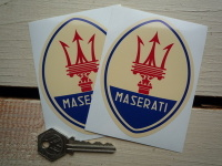 "Maserati Logo Blue Style Stickers. 3"" or 4"" Pair."