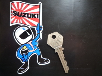 "Suzuki Flag Waving Babe Sticker. 4""."