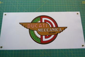 """Ducati Meccanica Bologna Winged Logo Banner Art Poster. 28""""."""