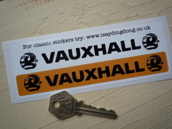"Vauxhall Number Plate Dealer Logo Cover Stickers. 5.5"" Pair."