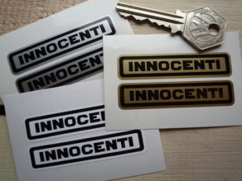 Innocenti Text Stickers. 63mm Pair.