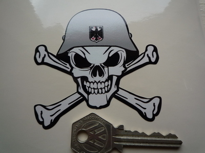 "German Helmet Skull & Crossbone Sticker. 3""."