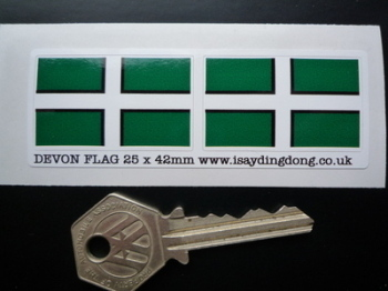 "Devon Devonshire Flag Stickers. 2"" Pair."