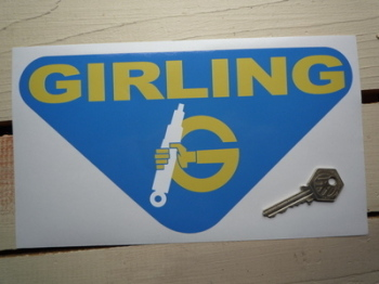 "Girling Yellow & Blue Triangular Sticker. 6"" or 10""."