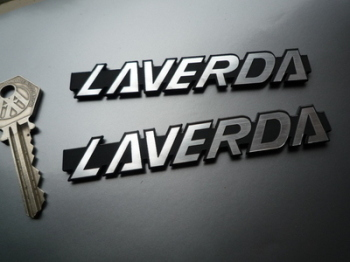"Laverda Laser Cut Self Adhesive Bike Badges. 4"" Pair."