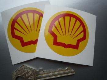 "Shell Modern Logo Circular Stickers. 2"" Pair."