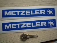 Metzeler Blue & White Oblong Stickers. 8