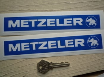 "Metzeler Blue & White Oblong Stickers. 8"" Pair."