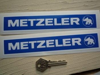 """Metzeler Blue & White Oblong Stickers. 8"""" Pair."""