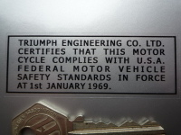 Triumph Engineering USA Safety Standards Sticker. Black & Clear or White & Clear. 3