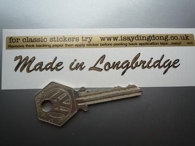"Made in Longbridge Sticker. Cut Vinyl with Black Outline.  4""."