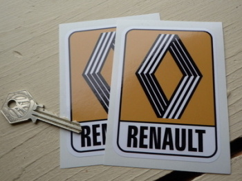 "Renault 1972 & on Mustard Logo & Text Stickers. 4"", 5"", 6"" or 8"" Pair."
