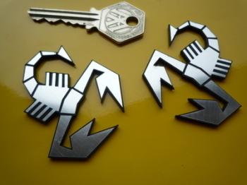 "Abarth Scorpion Laser Cut Self Adhesive Car Badges. 2"" Pair."