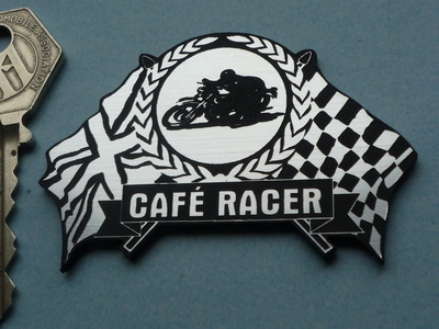 "Cafe Racer Flag & Garland Laser Cut Self Adhesive Bike Badge. 2.5""."