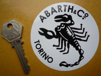 "Abarth & Co Torino Black & White Circular Sticker. 3""."