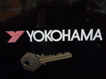 "Yokohama White Cut Text & Red Y Stickers. 4.25"" Pair."