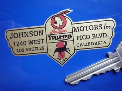 Johnson Motors Inc Triumph, Ariel & Indian Dealers Sticker. 3