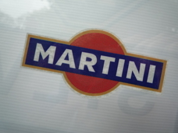 "Martini Logo Window Sticker. Blue With Gold Line. 3""."