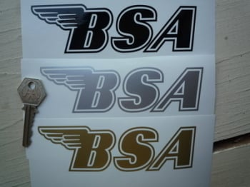 """BSA Cut To Shape with Outline Gas Tank Stickers. 5.5"""" Pair."""
