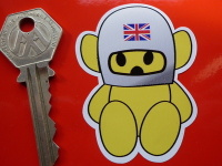 "Hesketh Union Jack Helmet Teddy Sticker. 2.5""."