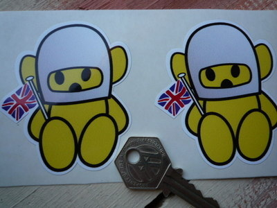 """Hesketh Teddy Bear Yellow Stickers. Static Cling. 1"""", 2"""", 3"""" or 4"""" Pair."""