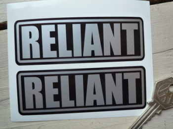 "Reliant Silver on Black Oblong Stickers. 4"" Pair."