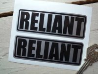 Reliant Black on Silver Oblong Stickers. 4