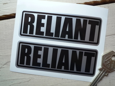 "Reliant Black on Silver Oblong Stickers. 4"" Pair."