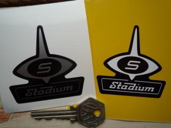 "Stadium Jet Helmet Logo Sticker. 1.5"", 2"" or 2.5""."