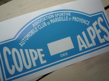 "Coupe Des Alpes. Association Sportive. No Flag. Rally Plate Sticker. 16""."