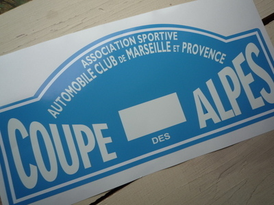 Coupe Des Alpes. Association Sportive. No Flag. Rally Plate Sticker. 16