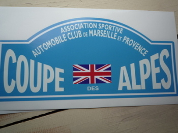 "Coupe Des Alpes. Association Sportive. Union Jack. Rally Plate Sticker. 16""."